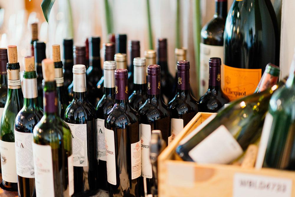 Wine bottles standing up