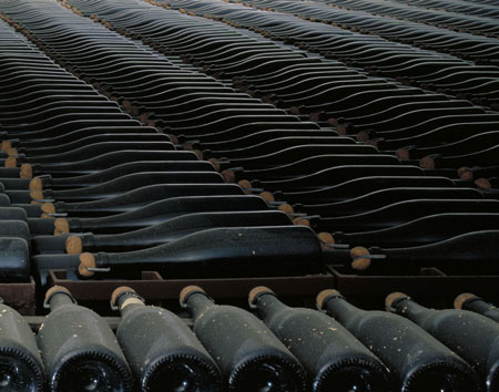Champagne-bottles-ageing-on-their-lees