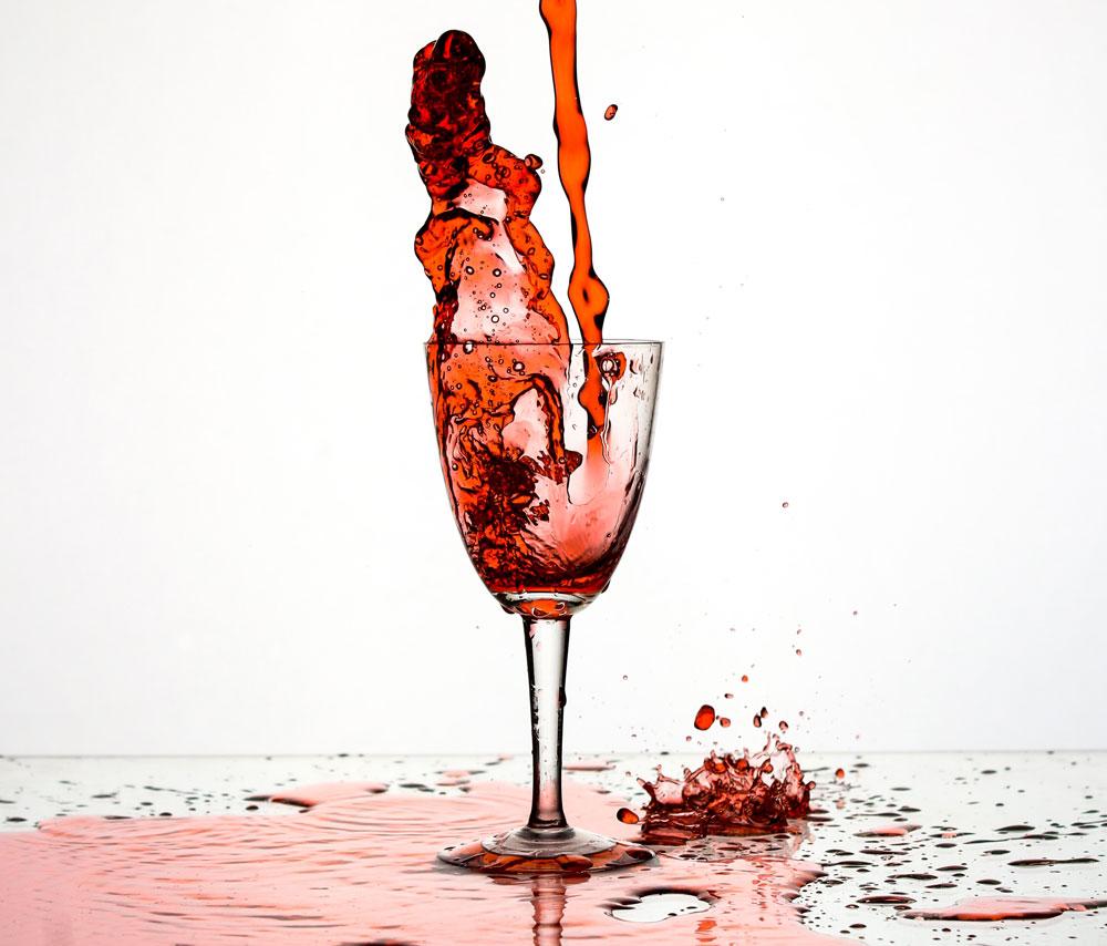 Wine being spilt