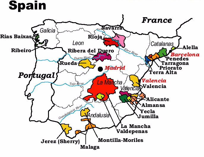 famous spanish wine regions map