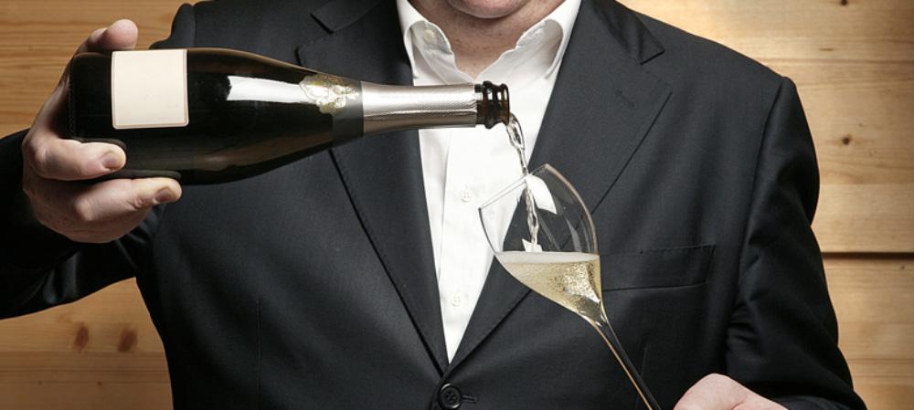 Open Champagne bottle