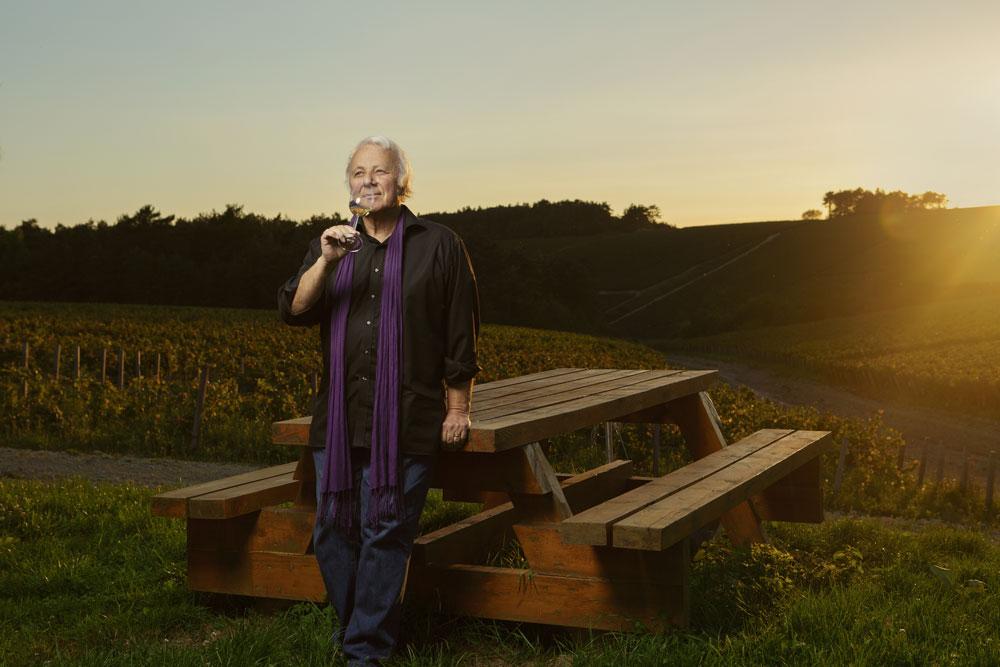 Man standing in organic vineyard