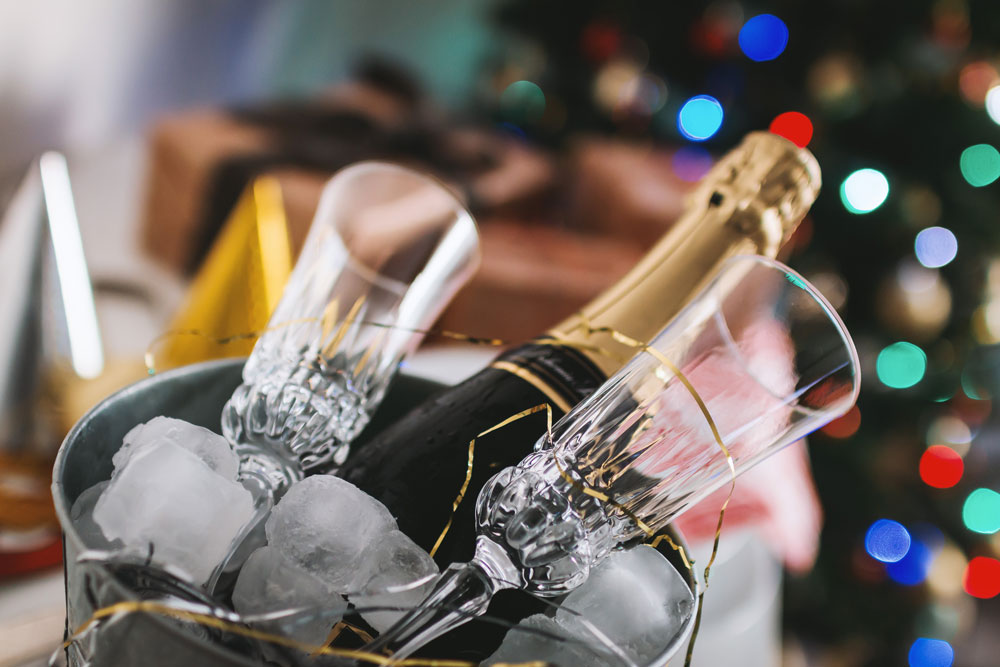 Champagne and Champagne glasses in ice bucket