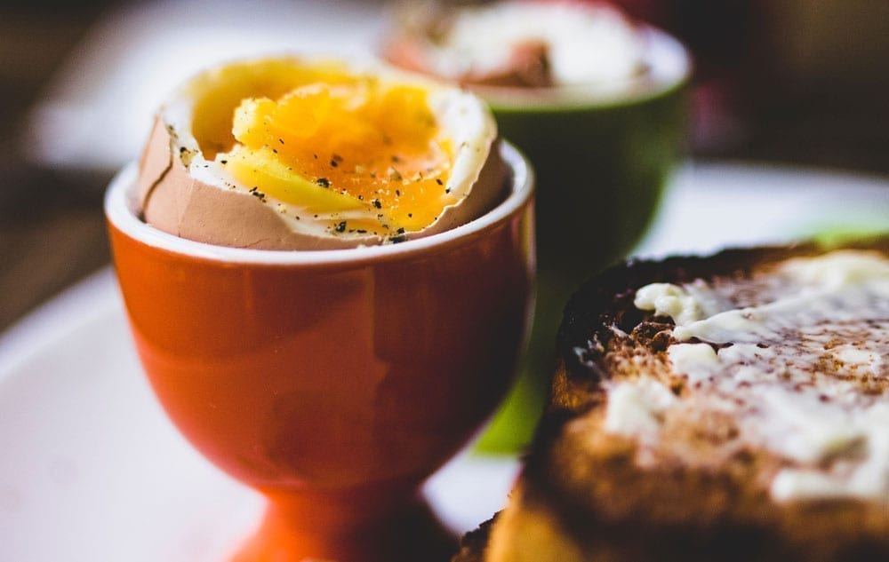 Boiled egg with toast
