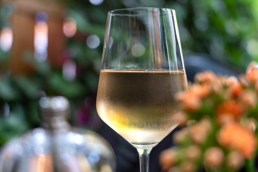 Glass of organic Chardonnay wine