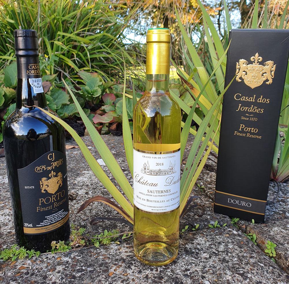 Organic sweet wine and organic port bottles
