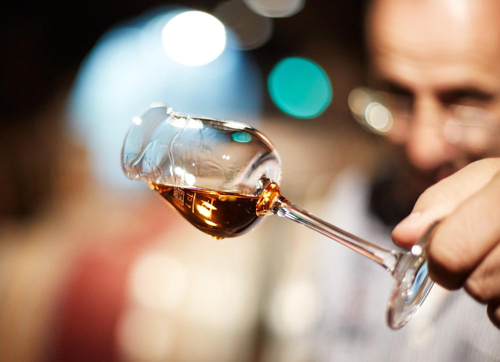 Organic sweet wine in a glass