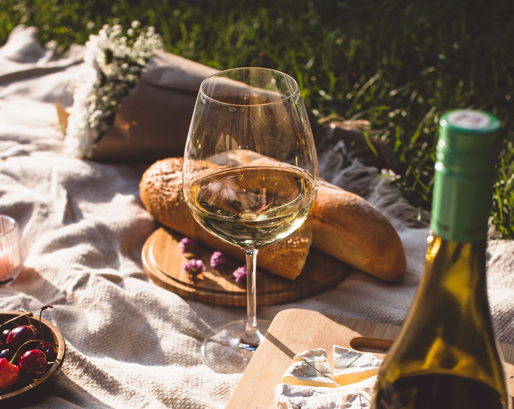 Glass of white wine with food