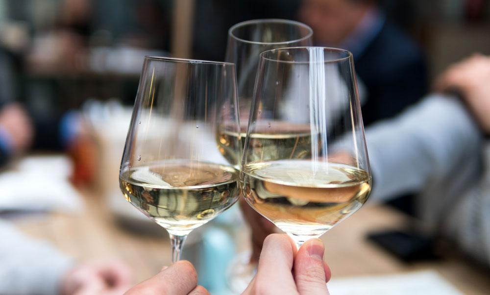 White wine in glasses
